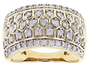 White Diamond 10K Yellow Gold Ring 0.70ctw
