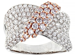 Natural Pink And White Diamond 14K White Gold Ring 2.30ctw