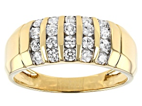 White Diamond 14k Yellow Gold Mens Ring 1.00ctw