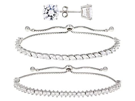 White Cubic Zirconia Rhodium Over Sterling Silver Bracelets And Earrings 16.32ctw