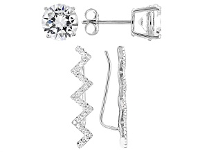 White Cubic Zirconia Rhodium Over Sterling Silver Earrings 7.48ctw