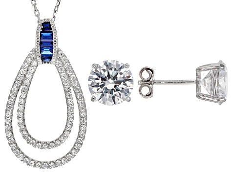 Lab Blue Spinel And White Cubic Zirconia Rhodium Over Sterling Jewelry Set 7.97ctw