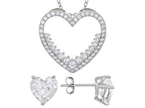 White Cubic Zirconia Rhodium Over Sterling Silver Pendant With Chain And Earrings 7.20ctw