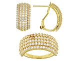 White Cubic Zirconia 18k Yellow Gold Over Sterling Silver Ring And Earrings 5.38ctw