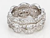 White Cubic Zirconia Rhodium Over Sterling Silver Ring 5.50ctw