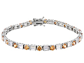 Brown And White Cubic Zirconia Rhodium Over Sterling Silver Bracelet 9.28ctw