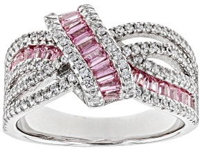 Pink and White Cubic Zirconia Rhodium Over Sterling Silver Ring 2.10ctw