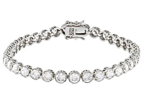 white cubic zirconia rhodium over sterling silver bracelet 12.50ctw