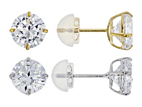 White Cubic Zirconia 14k Yellow Gold And White Gold Earrings Set Of 2 5.60ctw