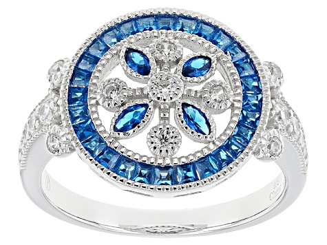 Blue And White Cubic Zirconia Rhodium Over Sterling Silver Ring 1.05ctw