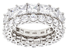 White Cubic Zirconia Rhodium Over Sterling Silver Rings 12.90ctw
