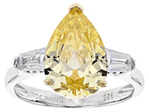 Yellow And White Cubic Zirconia Rhodium Over Sterling Silver Ring 7.50ctw