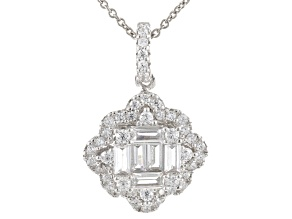 White Cubic Zirconia Rhodium Over Sterling Silver Pendant With Chain 1.38ctw
