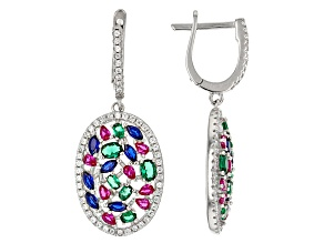 White, Blue, Pink, Green Cubic Zirconia Rhodium Over Sterling Silver Earrrings 5.40ctw