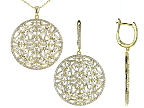 White Cubic Zirconia 18K Yellow gold Over Silver Earrings And Pendant With Chain 17.85ctw