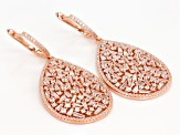 White Cubic Zirconia 18k Rose Gold Over Sterling Silver Earrings 11.40ctw