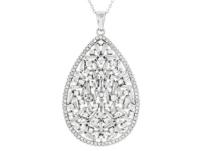 White Cubic Zirconia Rhodium Over Sterling Silver Pendant With Chain 5.60ctw