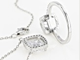 White Cubic Zirconia Rhodium Over Sterling Silver Necklace And Ring 7.61ctw
