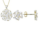 White Cubic Zirconia 18k Yg Over Sterling Silver Pendant With Chain And Earrings 6.22ctw