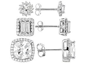 White Cubic Zirconia Rhodium Over Sterling Silver Earrings Set Of 3 9.00ctw