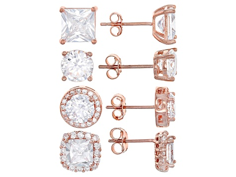 White Cubic Zirconia 18k Rg Over Sterling Silver Earrings Set 9.20ctw