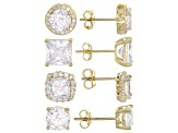 White Cubic Zirconia 18k Yg Over Sterling Silver Earrings Set 9.20ctw