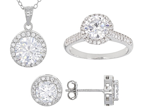 White Cubic Zirconia Rhodium Over Sterling Silver Jewelry Set 6.10ctw
