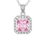 Pink And White Cubic Zirconia Rhodium Over Sterling Silver Jewelry Set 10.80ctw