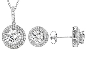 White Cubic Zirconia Rhodium Over Sterling Silver Pendant With Chain And Earrings 7.91ctw