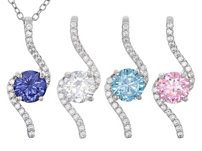 Blue Pink And White Cubic Zirconia Rhodium Over Sterling Set Of 4 Pendants With Chain 6.60ctw