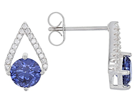 Blue And White Cubic Zirconia Rhodium Over Sterling Silver Jewelry Set 6.82ctw