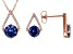 Blue And White Cubic Zirconia 18k Rose Gold Over Sterling Silver Jewelry Set 6.82ctw