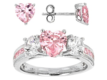 Picture of Pink And White Cubic Zirconia Rhodium Over Sterling Silver Heart Ring And Earrings 6.62ctw
