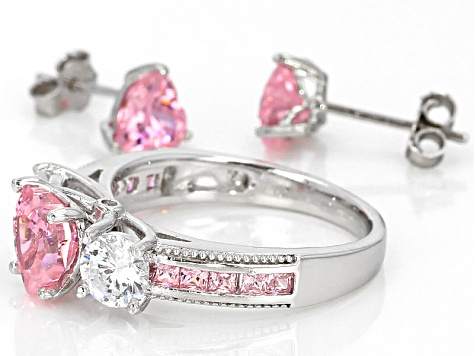 Pink And White Cubic Zirconia Rhodium Over Sterling Silver Heart Ring And Earrings 6.62ctw