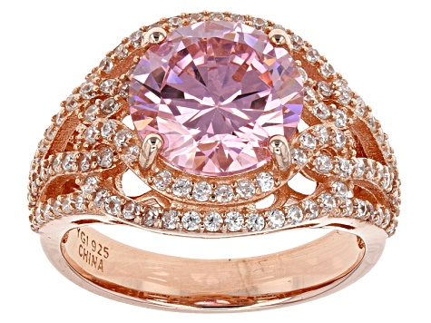 Pink And White Cubic Zirconia 18k Rose Gold Over Sterling Silver Ring 7.76ctw