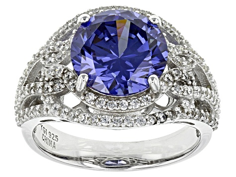 Blue And White Cubic Zirconia Rhodium Over Sterling Silver Ring 7.76ctw
