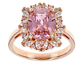 Pink And White Cubic Zirconia 18k Rose Gold Over Sterling Silver Ring 8.48ctw