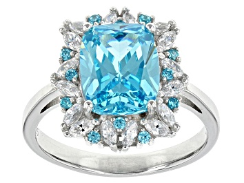 Picture of Blue And White Cubic Zirconia Rhodium Over Sterling Silver Ring 8.48ctw