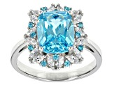 Blue And White Cubic Zirconia Rhodium Over Sterling Silver Ring 8.48ctw