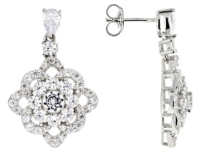 White Cubic Zirconia Rhodium Over Sterling Silver Earrings 10.15ctw