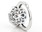 Lab Blue Spinel And White Cubic Zirconia Rhodium Over Sterling Silver Ring 3.10ctw