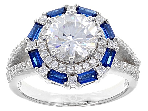 Blue And White Cubic Zirconia Rhodium Over Sterling Silver Ring 4.18ctw