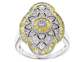 Yellow And White Cubic Zirconia Rhodium Over Sterling Silver Ring 2.06ctw