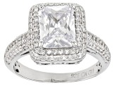 White Cubic Zirconia Rhodium Over Sterling Silver Ring 5.59ctw