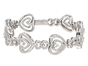 White Cubic Zirconia Rhodium Over Sterling Silver Heart Bracelet 7.20ctw