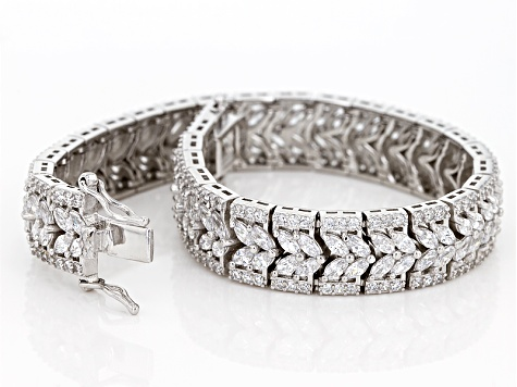 White Cubic Zirconia Rhodium Over Sterling Silver Bracelet 21.12ctw