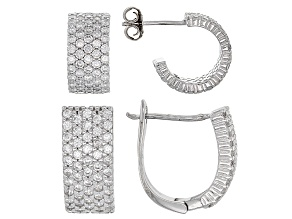 White Cubic Zirconia Rhodium Over Sterling Silver Earrings 2.84ctw Set Of 2