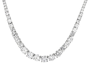 White Cubic Zirconia Rhodium Over Sterling Silver Necklace 41.28ctw