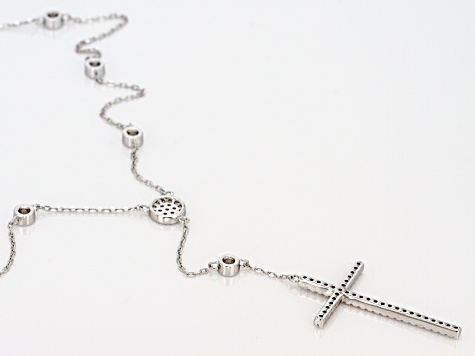 White Cubic Zirconia Rhodium Over Sterling Silver Cross Necklace 1.72ctw
