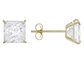 White Cubic Zirconia 14k Yg Earrings 2.50ctw